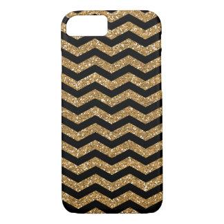 Black Gold Faux Glitter Chevron iPhone 7 Case