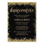 Black Gold Faux Glitter Quinceanera 15th Birthday Card