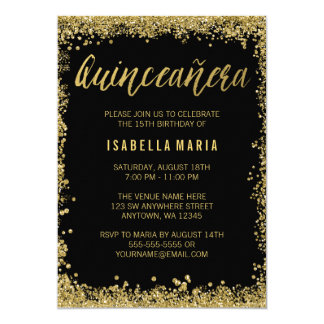 Black Gold Faux Glitter Quinceanera 15th Birthday Card