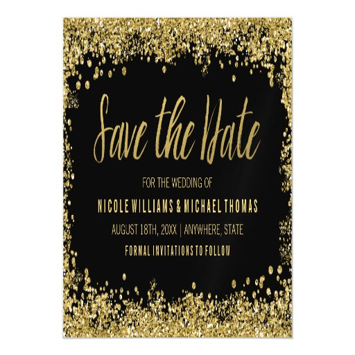Black Gold Faux Glitter Save the Date Magnetic Card | Zazzle