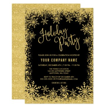 Professional Business Black Gold Faux Glitter Snowflakes Holiday Party Card