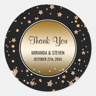 Black Gold Faux Glitter Stars   Wedding Favors Classic Round Sticker