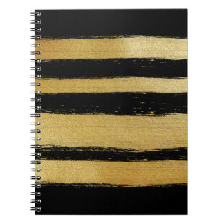 Black gold faux leaf modern brushstrokes stripes notebook