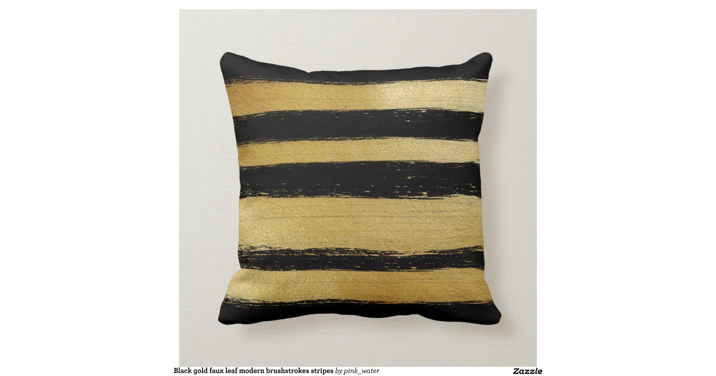 black_gold_faux_leaf_modern_brushstrokes_stripes_pillow-r943eae2714cb49868c5553336a10c608_i5f0b ...