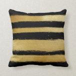 Black gold faux leaf modern brushstrokes stripes pillow