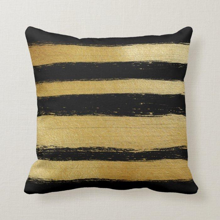 Black gold faux leaf modern brushstrokes stripes throw pillow Zazzle