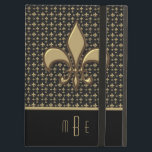 "Black Gold Faux Metal Fleur de Lis Case For iPad Air<br><div class=""desc"">Protect your iPad air in grand style with this case featuring a faux gold metal Fleur de Lis symbol on a black and gold fleur de lis pattern background. Personalize with your initials or other text. Click cutsomize it to change the font and text placement.</div>"