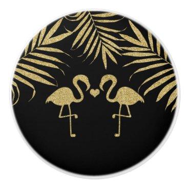 Beach Themed Black & Gold Flamingos Beach Watercolor Elegant Ceramic Knob