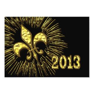 Black Gold Fleur de Lis 2013 New Year's Party Card
