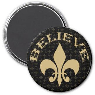 Black Gold Fleur de Lis Believe Magnet