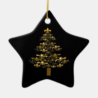 Black Gold Fleur de Lis Christmas Tree Star Ceramic Ornament