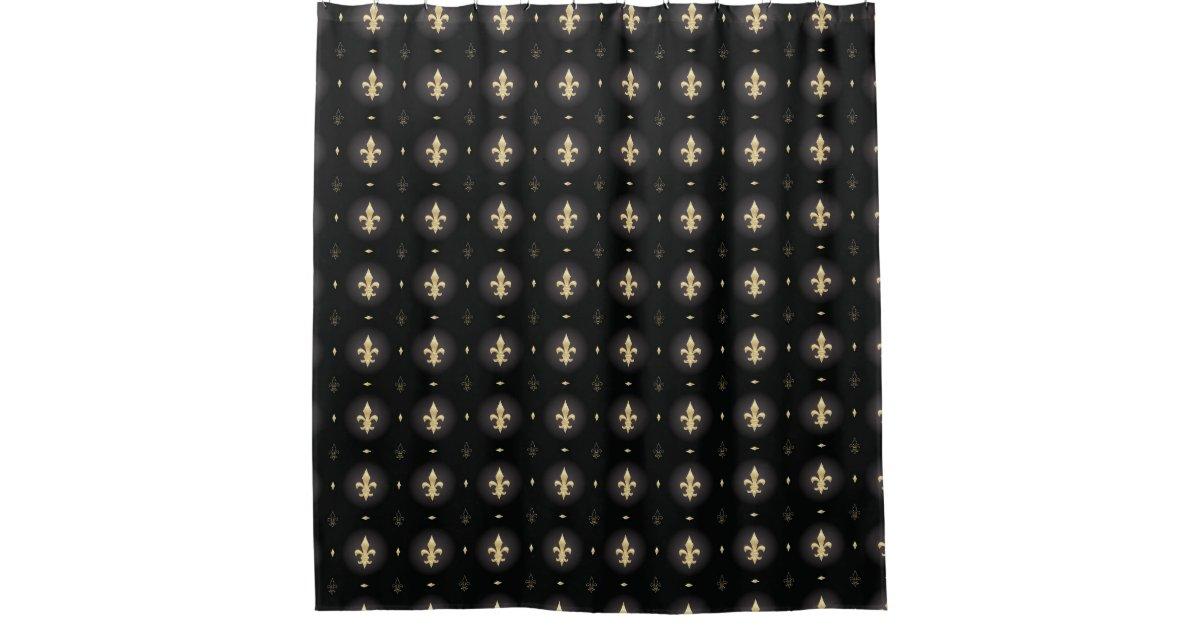 Black Gold Fleur De Lis Curtain Zazzle