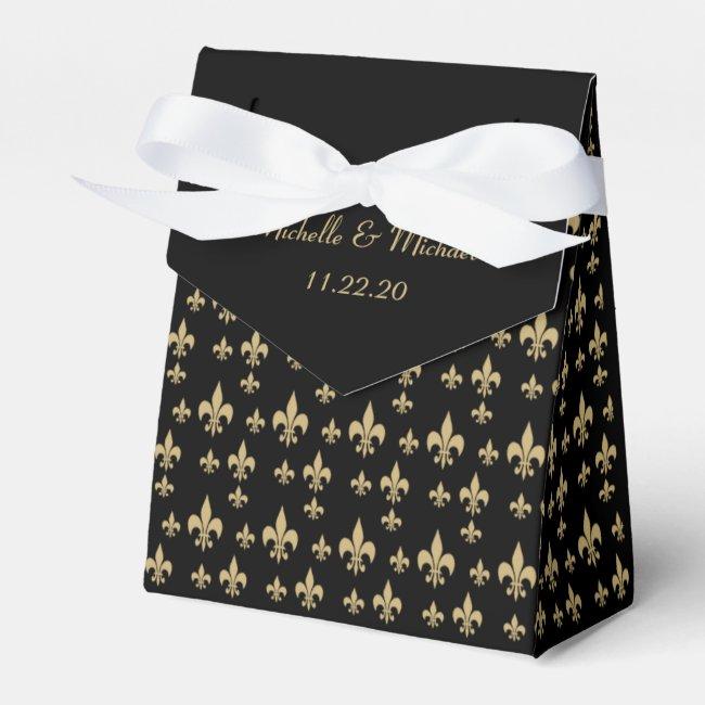 Black Gold Fleur de Lis Favor Box