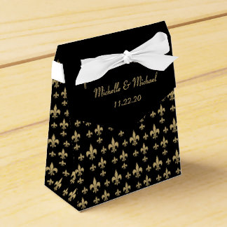 Black Gold Fleur de Lis Favor Box