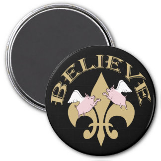 Black Gold Fleur de Lis Flying Pigs 3 Inch Round Magnet