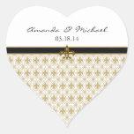 Black Gold Fleur de Lis Heart Stickers
