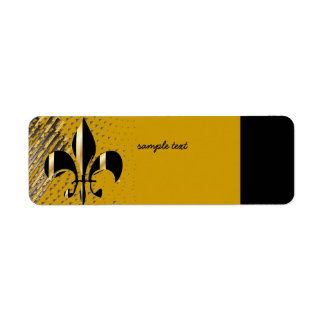 Black Gold Fleur de lis Custom Return Address Label