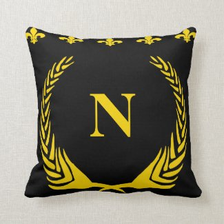 Black & Gold Fleur De Lis  Letters & Numbers Throw Pillow