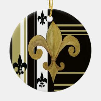 Black & Gold fleur de lis ornament