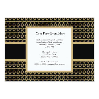Black Gold Fleur de Lis Party Invitation