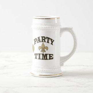 Black Gold Fleur de Lis Party Time 18 Oz Beer Stein