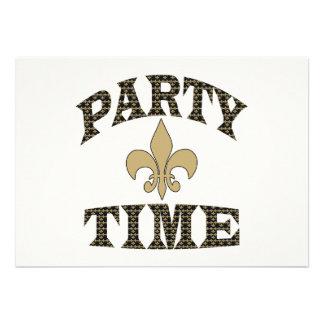 Black Gold Fleur de Lis Party Time Custom Invitations
