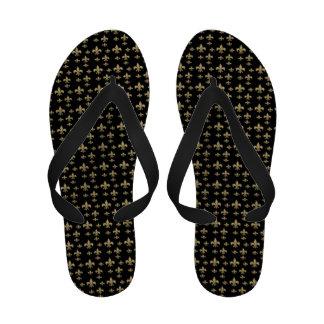 Black Gold Fleur de Lis Pattern Flip-Flops