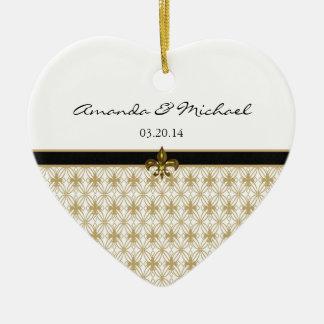 Black Gold Fleur de Lis Pattern Wedding Double-Sided Heart Ceramic Christmas Ornament