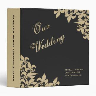 Black Gold Fleur de Lis Pattern Wedding Planner Binder