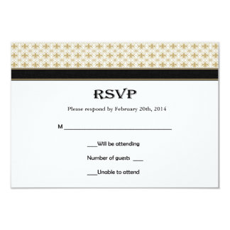 Black Gold Fleur de Lis Wedding RSVP Cards