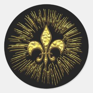 Black Gold Fleur de Lis with Sparks Sticker