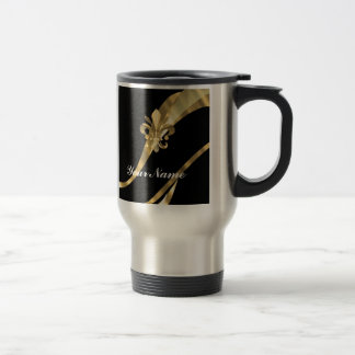 Black & gold fleur de lys 15 oz stainless steel travel mug