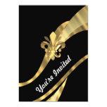 """Black & gold fleur de lys 5"""" x 7"""" invitation card"""