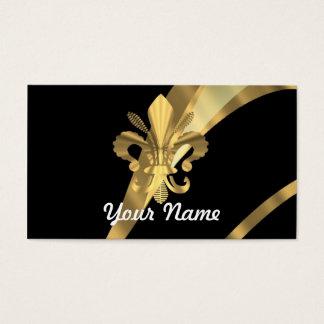 Black & gold fleur de lys business card