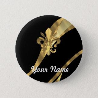 Black & gold fleur de lys button