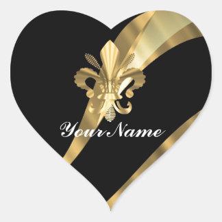 Black & gold fleur de lys heart sticker