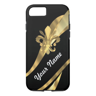 Black & gold fleur de lys iPhone 8/7 case