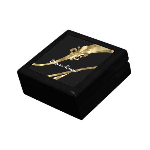 Black & gold fleur de lys jewelry boxes