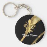 Black & gold fleur de lys key chain