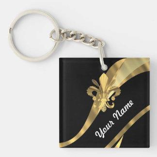Black & gold fleur de lys keychain