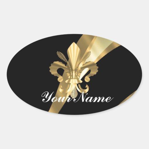 Black & gold fleur de lys oval sticker