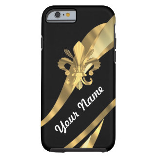 Black & gold fleur de lys tough iPhone 6 case