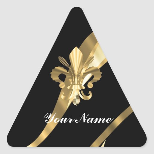 Black & gold fleur de lys triangle sticker