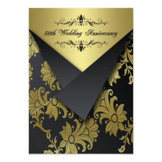 """Black, Gold Floral 50th Anniversary Invitation 2 5"""" X 7"""" Invitation Card"""