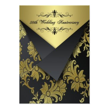 Black, Gold Floral 50th Anniversary Invitation 2