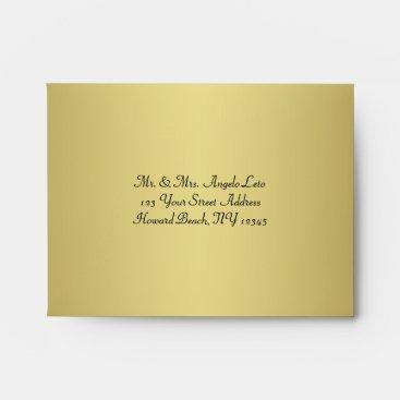 Black, Gold Floral A2 Envelope for RSVP Cards