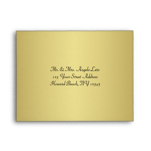 Black, Gold Floral A2 Envelope for RSVP Cards