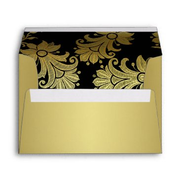 Black, Gold Floral A7 Envelope for 5x7 Size Cards