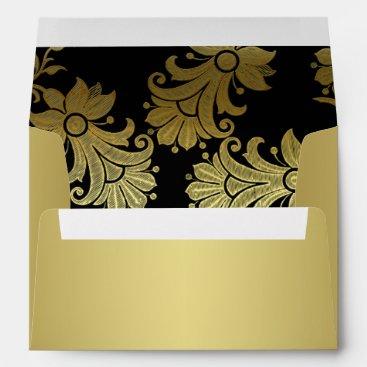 Black, Gold Floral A7 Envelope for 5x7 Size Cards