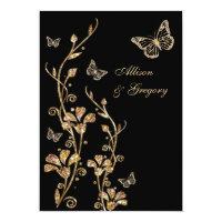 Black Gold Floral Butterflies Wedding Invitation (<em>$2.01</em>)